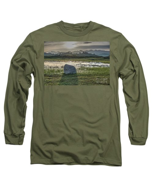 Long Sleeve T-Shirt featuring the photograph A Yellowstone Sunrise And Hazy Morning Ridges by Bill Gabbert