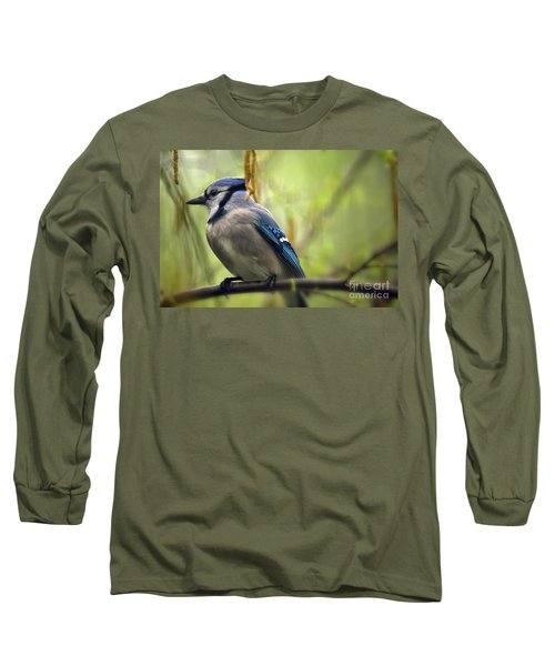 Blue Jay On A Misty Spring Day Long Sleeve T-Shirt by Lois Bryan