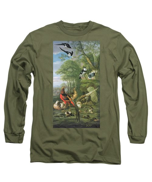 Cock Pheasant Hen Pheasant And Chicks And Other Birds In A Classical Landscape Long Sleeve T-Shirt by Pieter Casteels