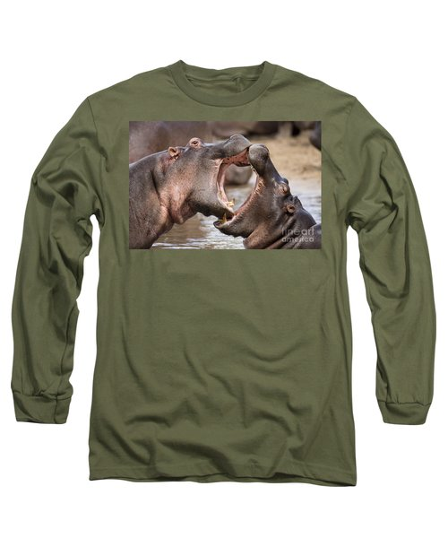 Fighting Hippos Long Sleeve T-Shirt by Richard Garvey-Williams