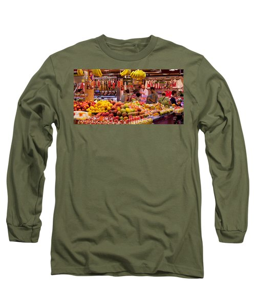Fruits At Market Stalls, La Boqueria Long Sleeve T-Shirt by Panoramic Images