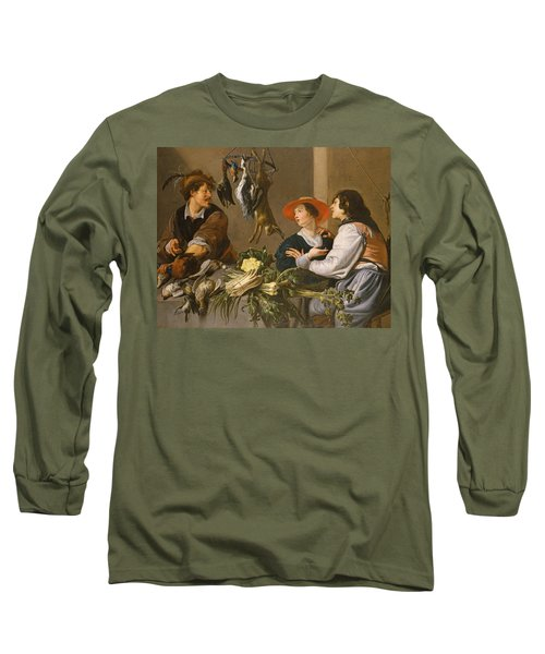 Game And Vegetable Sellers Oil On Canvas Long Sleeve T-Shirt by Theodor Rombouts