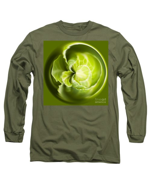 Green Cabbage Orb Long Sleeve T-Shirt by Anne Gilbert