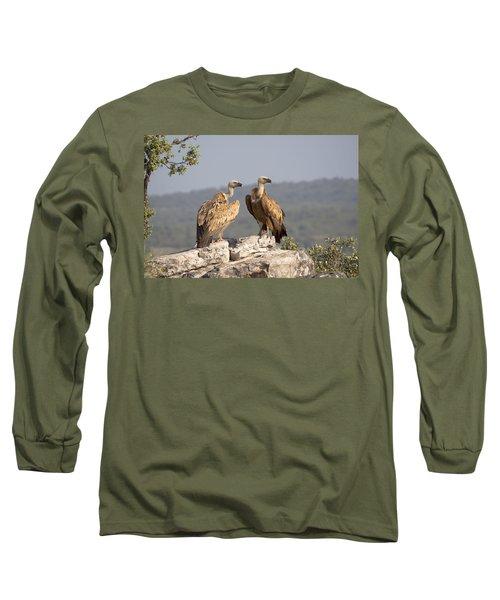 Griffon Vulture Pair Extremadura Spain Long Sleeve T-Shirt by Gerard de Hoog