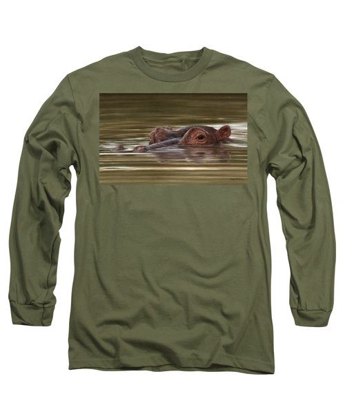 Hippo Painting Long Sleeve T-Shirt by Rachel Stribbling