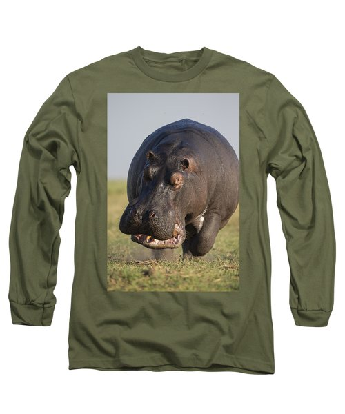 Hippopotamus Bull Charging Botswana Long Sleeve T-Shirt by Vincent Grafhorst