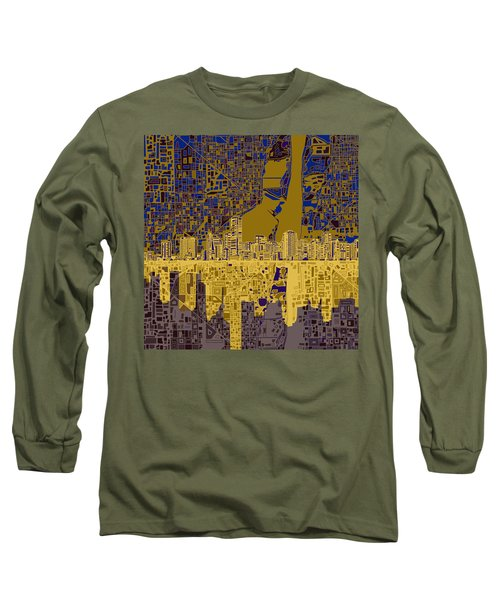 Miami Skyline Abstract 3 Long Sleeve T-Shirt by Bekim Art