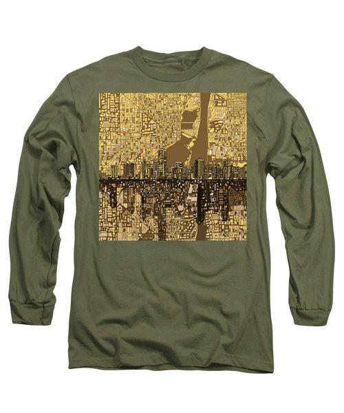 Miami Skyline Abstract 6 Long Sleeve T-Shirt by Bekim Art