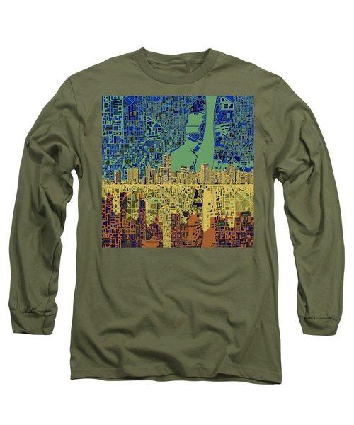 Miami Skyline Abstract 7 Long Sleeve T-Shirt by Bekim Art