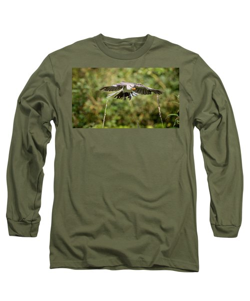 Mockingbird In Flight Long Sleeve T-Shirt by Bill Wakeley