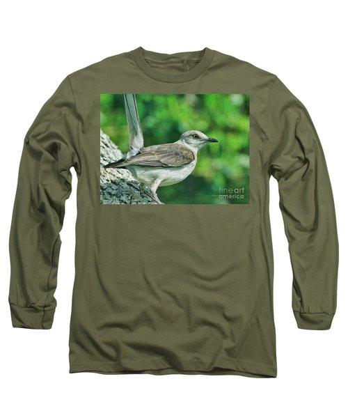 Mockingbird Pose Long Sleeve T-Shirt by Deborah Benoit