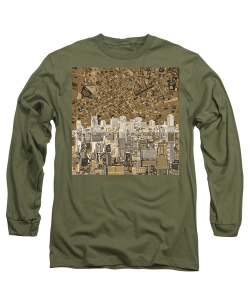 Nashville Skyline Abstract 2 Long Sleeve T-Shirt by Bekim Art
