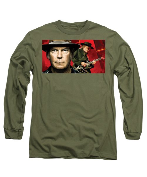 Neil Young Artwork Long Sleeve T-Shirt by Sheraz A