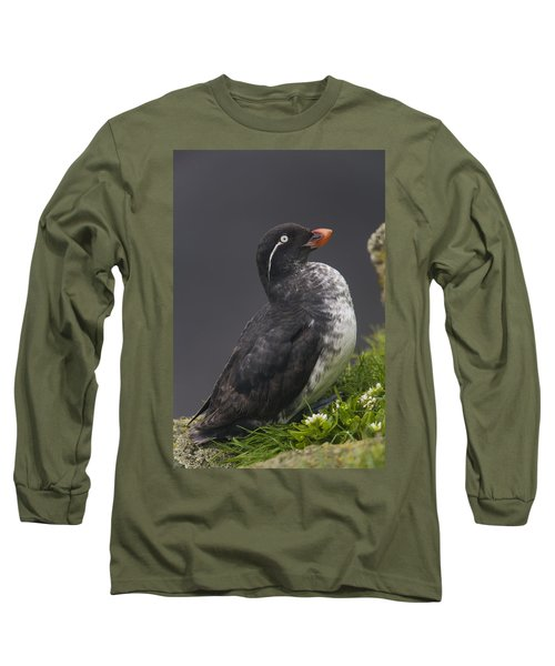 Parakeet Auklet Sitting In Green Long Sleeve T-Shirt by Milo Burcham