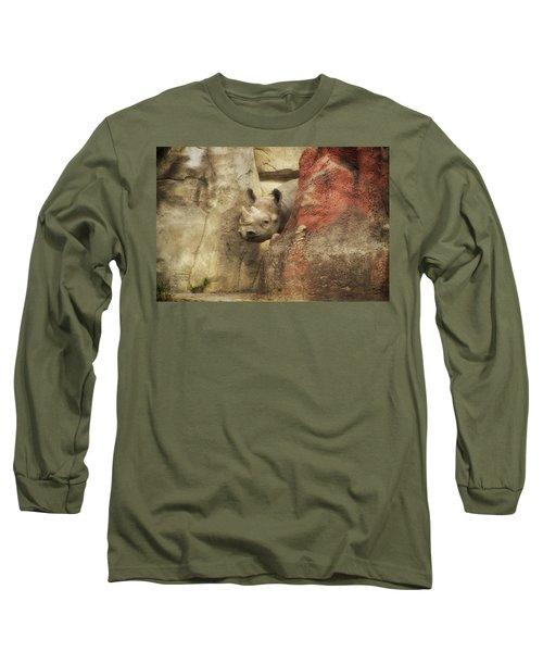 Peek A Boo Rhino Long Sleeve T-Shirt by Thomas Woolworth