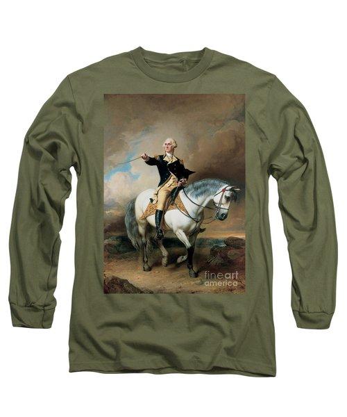 Portrait Of George Washington Taking The Salute At Trenton Long Sleeve T-Shirt by John Faed