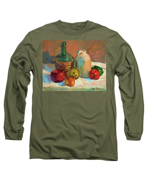 Pottery And Vegetables Long Sleeve T-Shirt by Diane McClary