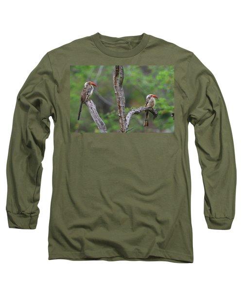Red-billed Hornbills Long Sleeve T-Shirt by Bruce J Robinson