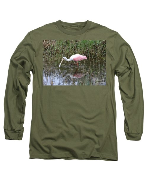 Roseate Spoonbill Reflection Long Sleeve T-Shirt by Carol Groenen