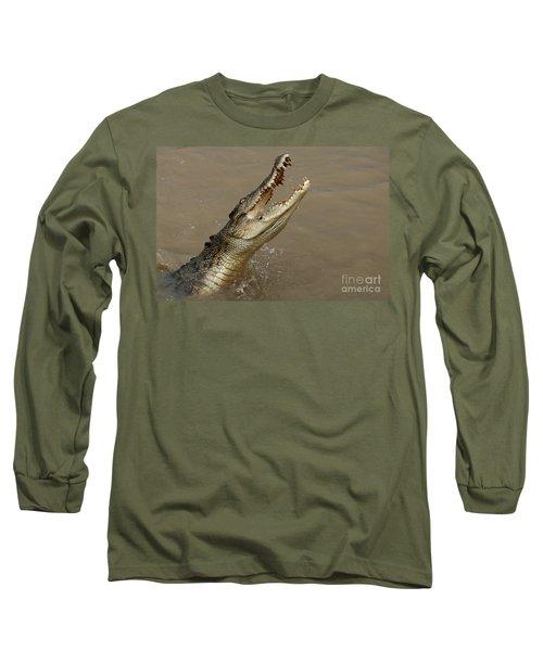 Salt Water Crocodile Australia Long Sleeve T-Shirt by Bob Christopher