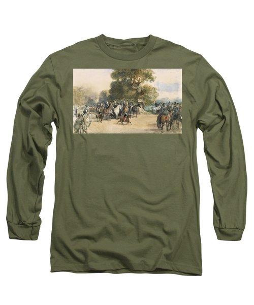 Scene In Hyde Park Long Sleeve T-Shirt by Eugene-Louis Lami