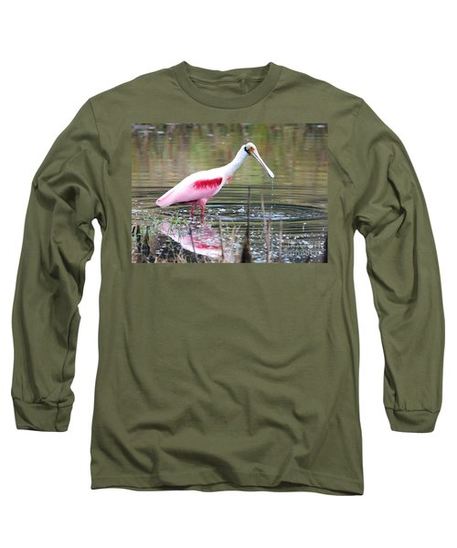 Spoonbill In The Pond Long Sleeve T-Shirt by Carol Groenen