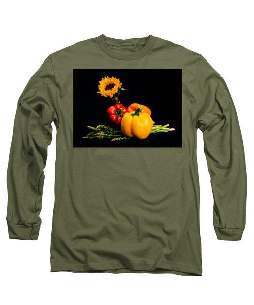 Still Life Peppers Asparagus Sunflower Long Sleeve T-Shirt by Jon Woodhams