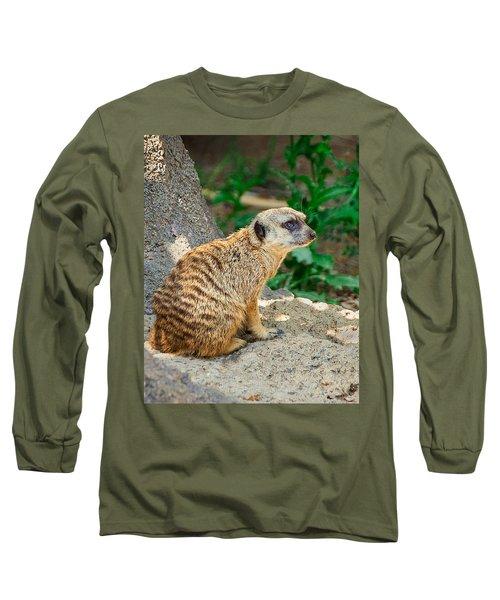 Watchful Meerkat Vertical Long Sleeve T-Shirt by Jon Woodhams
