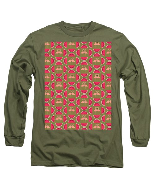 Watermelon Flamingo Print Long Sleeve T-Shirt by Susan Claire