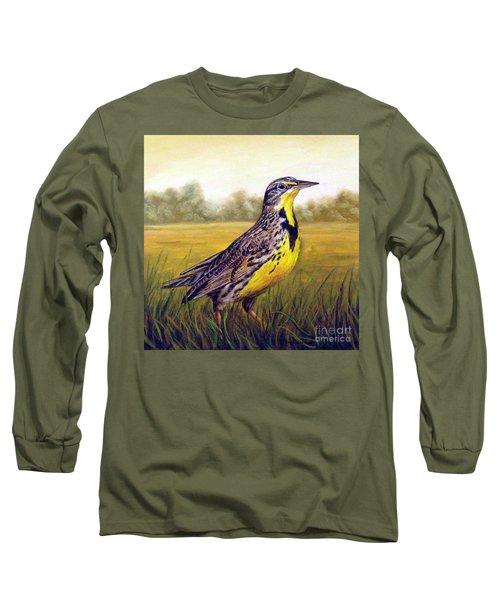 Western Meadowlark Afternoon Long Sleeve T-Shirt by Tom Chapman