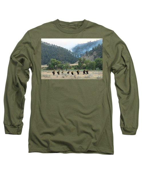 Long Sleeve T-Shirt featuring the photograph Wyoming Hot Shots Walk To Their Assignment by Bill Gabbert