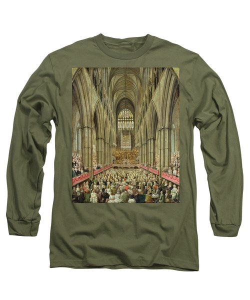 An Interior View Of Westminster Abbey On The Commemoration Of Handel's Centenary Long Sleeve T-Shirt by Edward Edwards