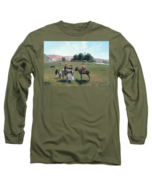 Donkey Ride Long Sleeve T-Shirt by Camille Pissarro