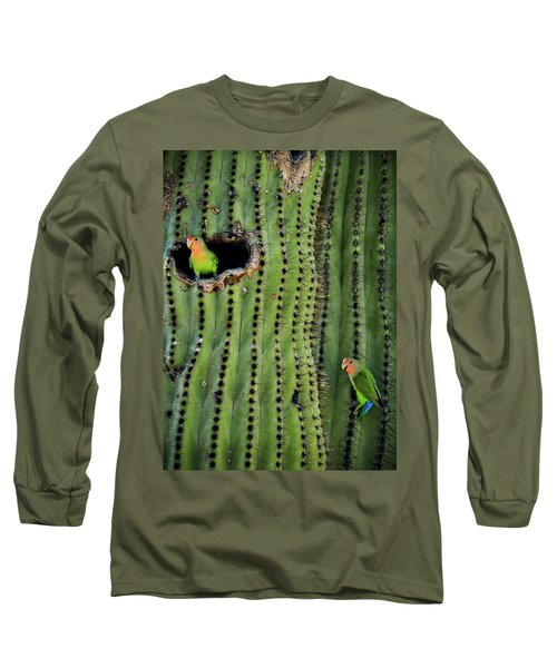 Lovebirds And The Saguaro  Long Sleeve T-Shirt by Saija  Lehtonen