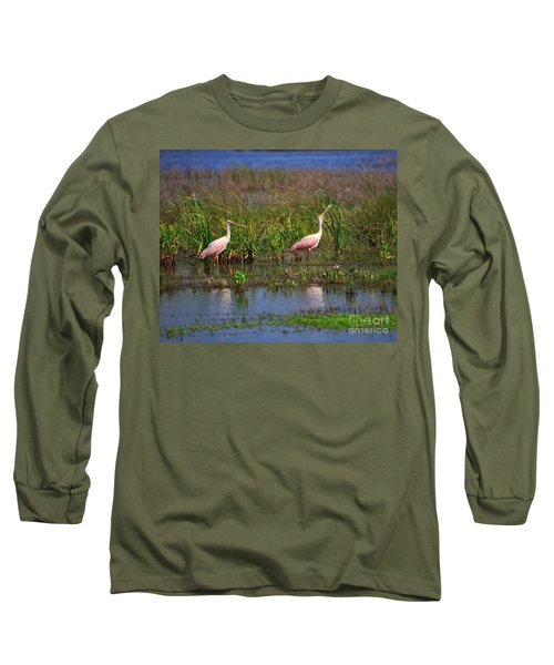 Roseate Spoonbills Long Sleeve T-Shirt by Louise Heusinkveld