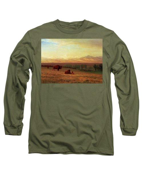 Buffalo On The Plains Long Sleeve T-Shirt by Albert Bierstadt