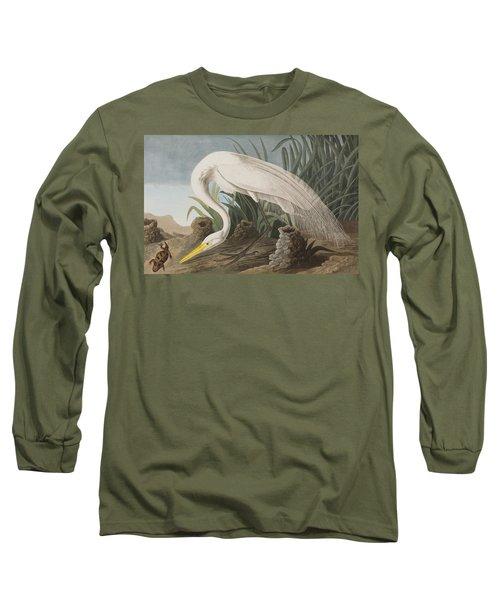 Great Egret Long Sleeve T-Shirt by John James Audubon