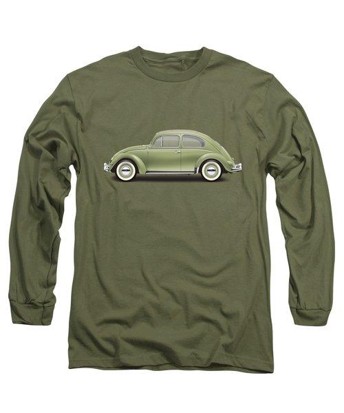 1957 Volkswagen Deluxe Sedan - Diamond Green Long Sleeve T-Shirt by Ed Jackson