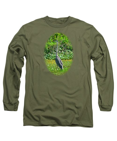 Great Blue Heron Long Sleeve T-Shirt by Deborah Good