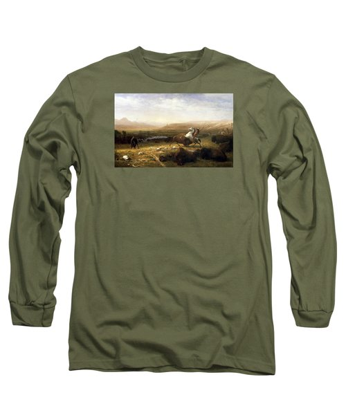 The Last Of The Buffalo  Long Sleeve T-Shirt by Albert Bierstadt