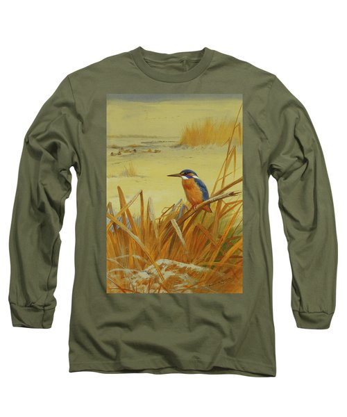 A Kingfisher Amongst Reeds In Winter Long Sleeve T-Shirt by Archibald Thorburn