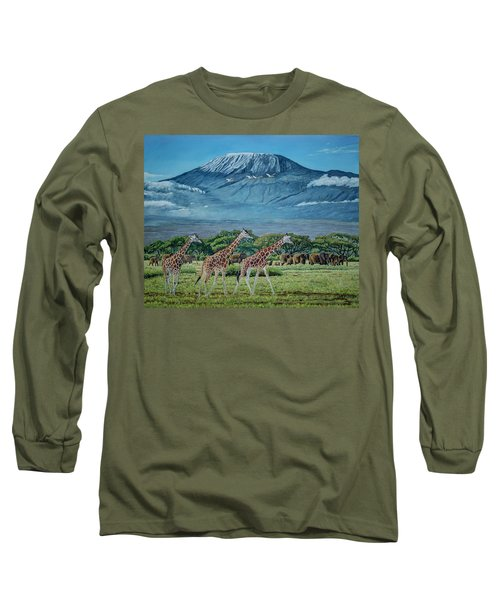 African Giants At Mount Kilimanjaro, Original Oil Painting 48x60 In On Gallery Canvas Long Sleeve T-Shirt by Manuel Lopez