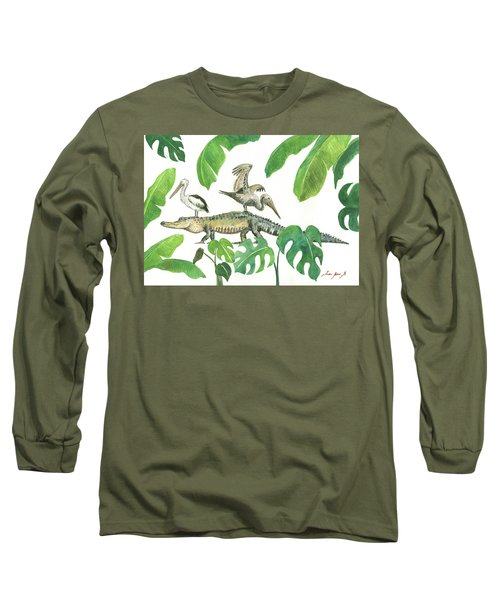 Alligator And Pelicans Long Sleeve T-Shirt by Juan Bosco
