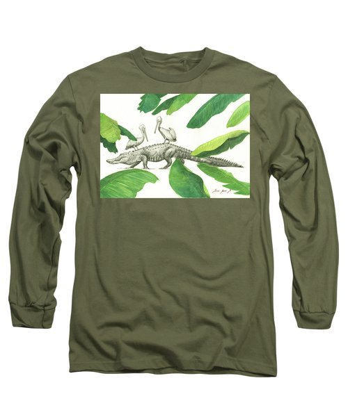 Alligator With Pelicans Long Sleeve T-Shirt by Juan Bosco