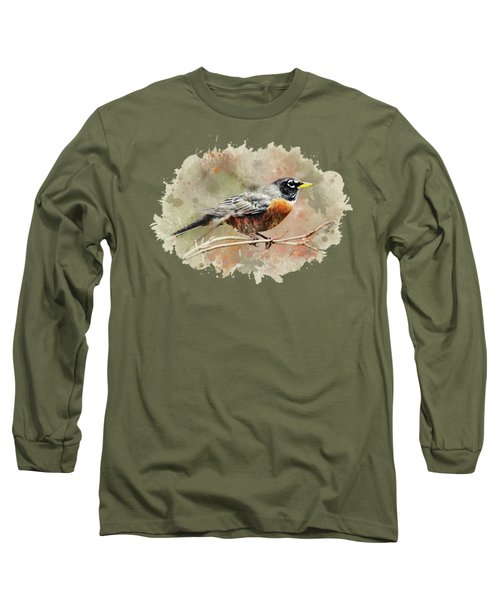 American Robin - Watercolor Art Long Sleeve T-Shirt by Christina Rollo