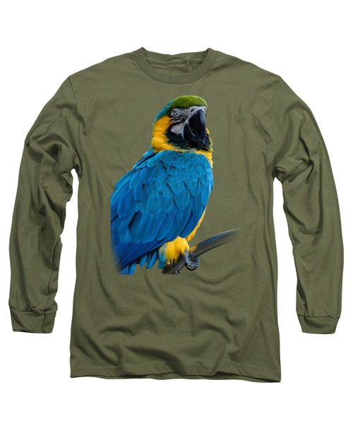 Blue Yellow Macaw No.2 Long Sleeve T-Shirt by Mark Myhaver