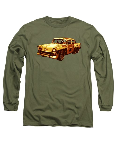 Roadrunner The Snake And The 56 Chevy Rat Rod Long Sleeve T-Shirt by Chas Sinklier