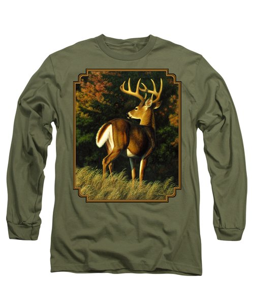 Whitetail Buck - Indecision Long Sleeve T-Shirt by Crista Forest