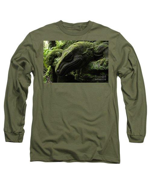 Bali Indonesia Lizard Sculpture Long Sleeve T-Shirt by Bob Christopher