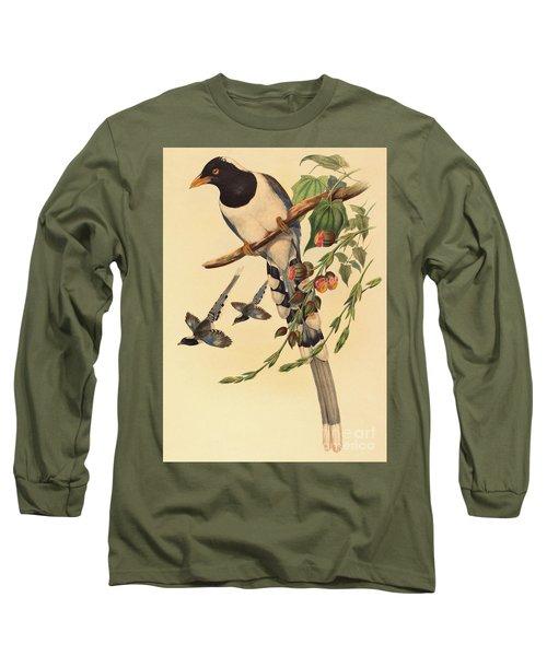 Blue Magpie, Urocissa Magnirostris Long Sleeve T-Shirt by John Gould